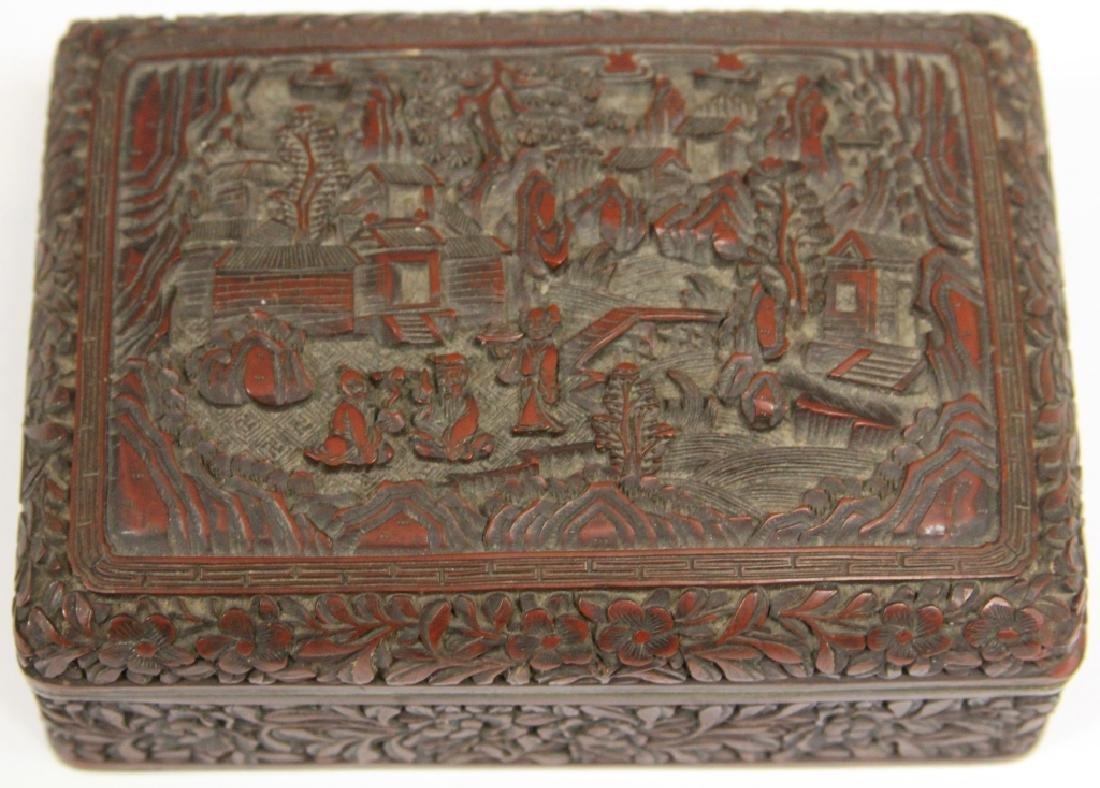 "CHINESE CINNABAR CARVED BOX, 5 1/4"" L - 2"