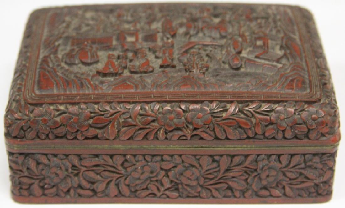 "CHINESE CINNABAR CARVED BOX, 5 1/4"" L - 3"