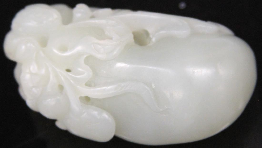 "CHINESE CARVED WHITE JADE PENDANT, 2 1/8"" L"
