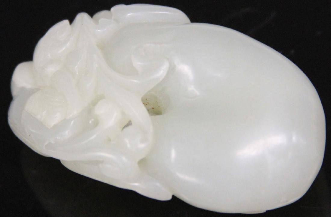 """CHINESE CARVED WHITE JADE PENDANT, 2 1/8"""" L - 2"""