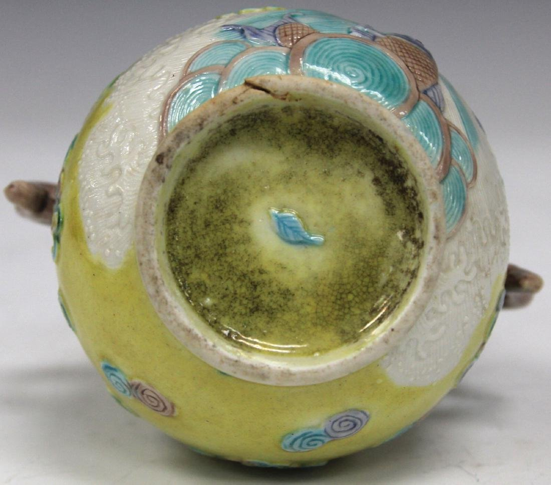 """LATE 19TH C. CHINESE POTTERY VASE, 4 3/4"""" H - 3"""