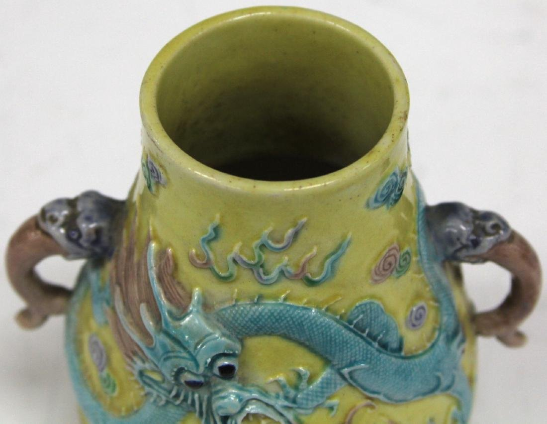 "LATE 19TH C. CHINESE POTTERY VASE, 4 3/4"" H - 4"