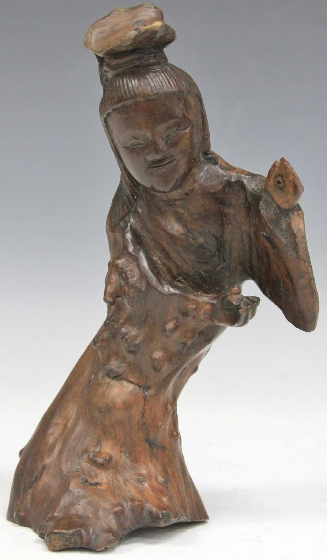 """VINTAGE QUAN YIN ROOT CARVING, 9"""" H"""