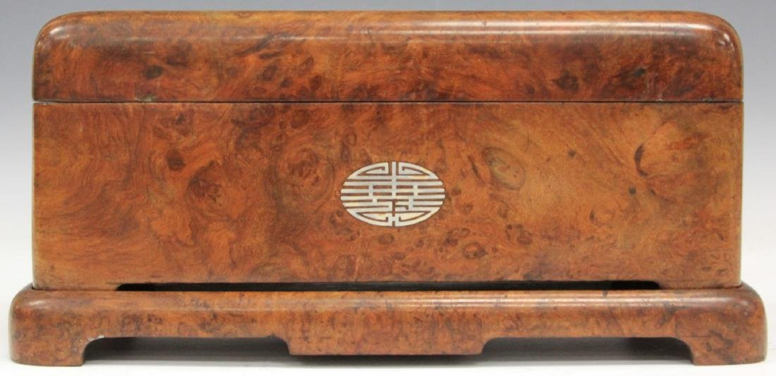 ASIAN CARVED BURL WALNUT INLAID DRESSER BOX