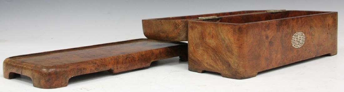 ASIAN CARVED BURL WALNUT INLAID DRESSER BOX - 2