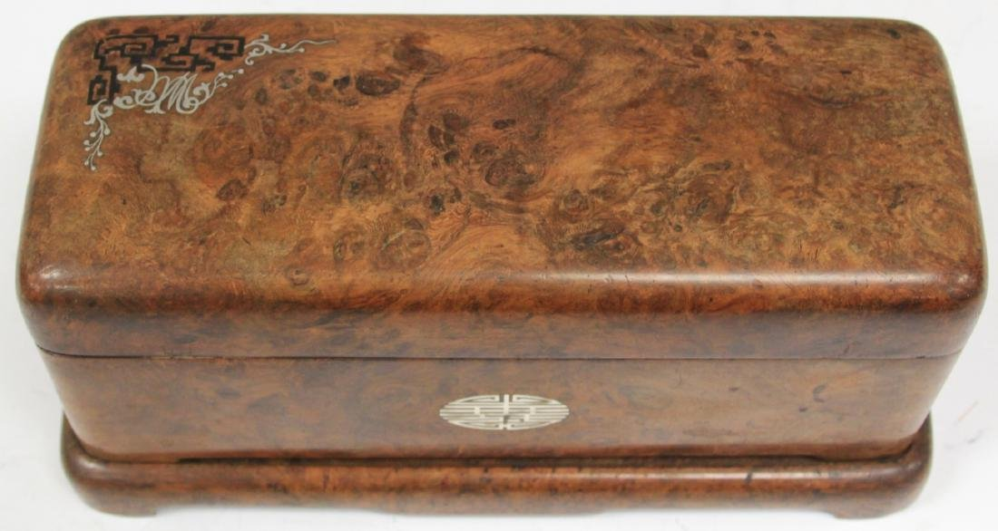 ASIAN CARVED BURL WALNUT INLAID DRESSER BOX - 3