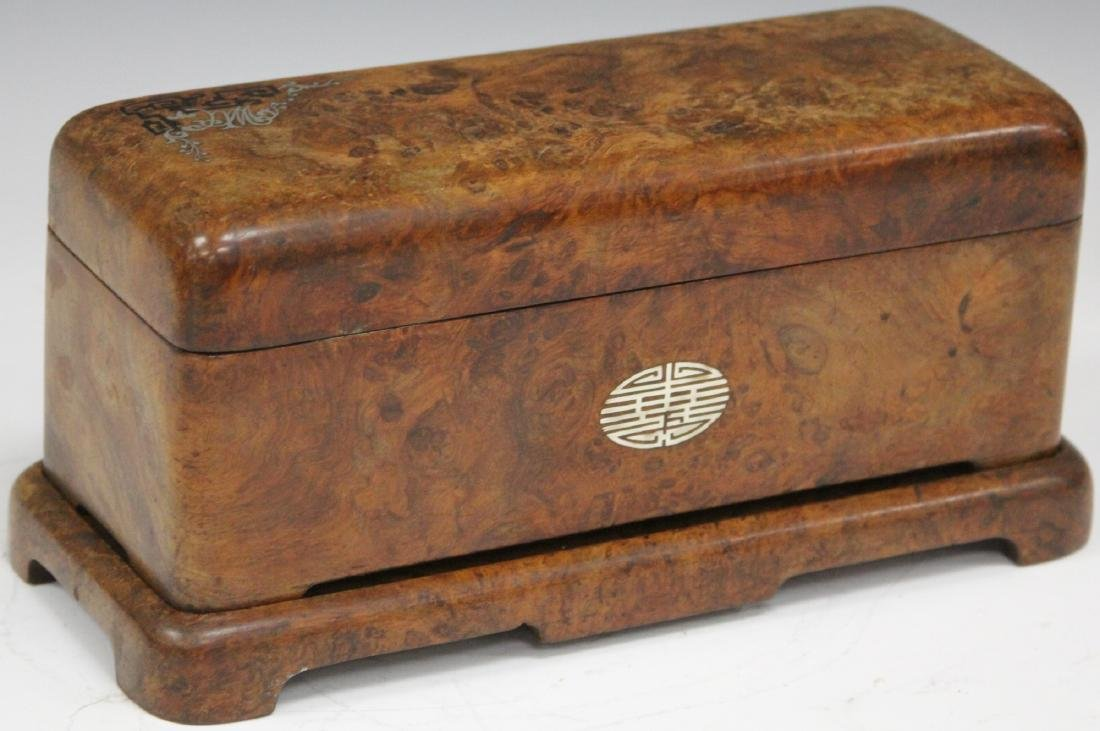 ASIAN CARVED BURL WALNUT INLAID DRESSER BOX - 5