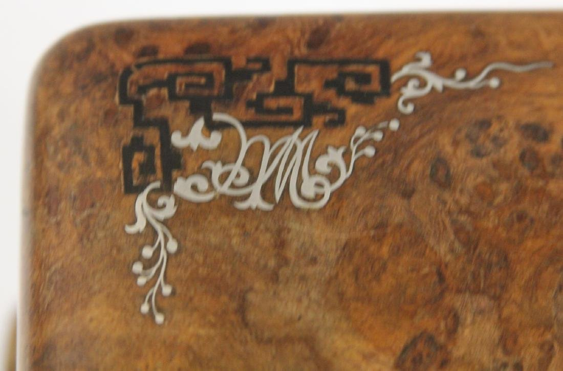 ASIAN CARVED BURL WALNUT INLAID DRESSER BOX - 6