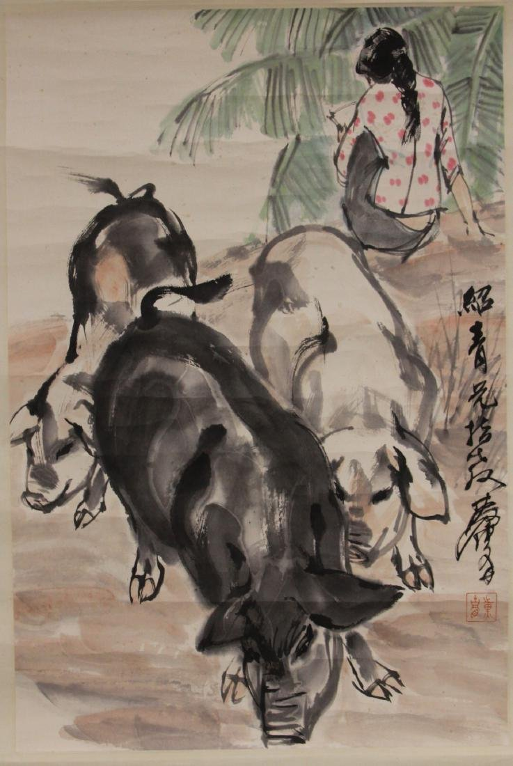 CHINESE WATERCOLOR SCROLL PAINTING, ARTIST SIGNED - 2