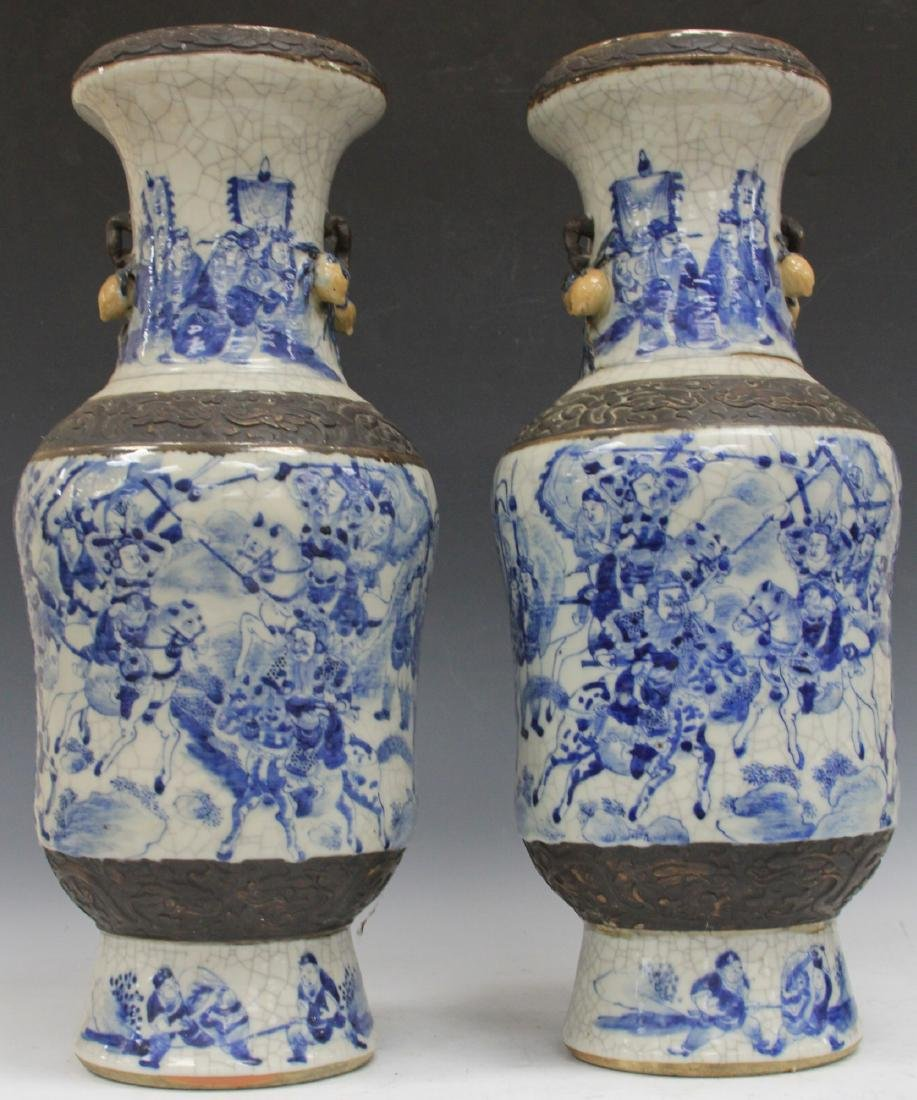 "PAIR OF EARLY CHINESE BLUE AND WHITE VASES, 24"" H - 2"