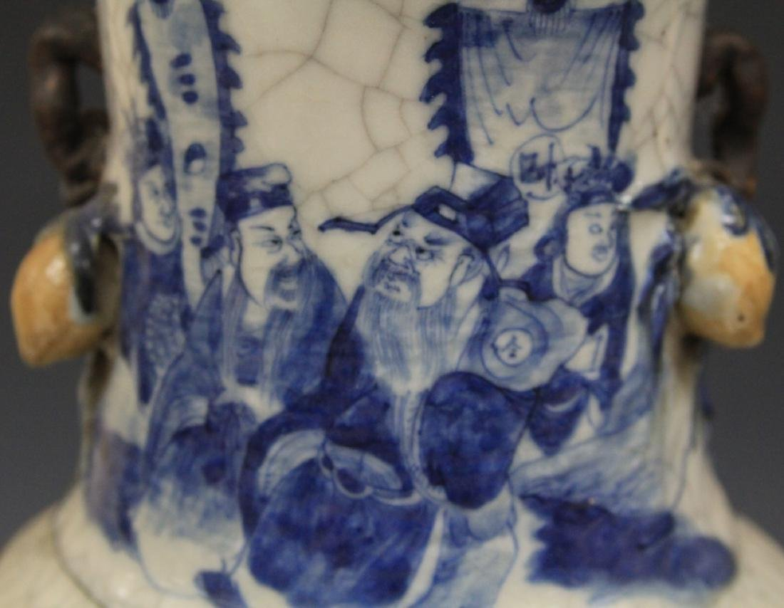 "PAIR OF EARLY CHINESE BLUE AND WHITE VASES, 24"" H - 3"