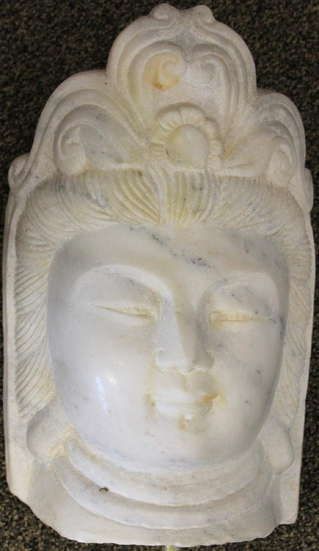 "CHINESE QUAN YIN CARVED MARBLE STATUE, 15 3/4"" H"