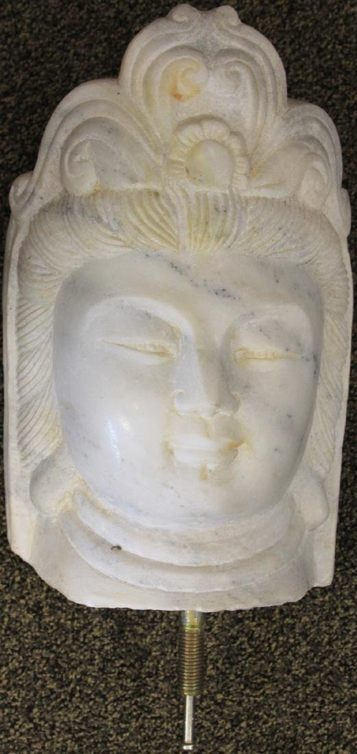 """CHINESE QUAN YIN CARVED MARBLE STATUE, 15 3/4"""" H - 2"""