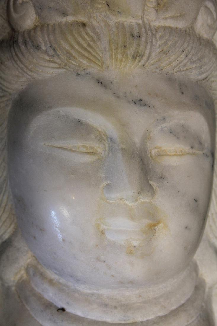 """CHINESE QUAN YIN CARVED MARBLE STATUE, 15 3/4"""" H - 3"""