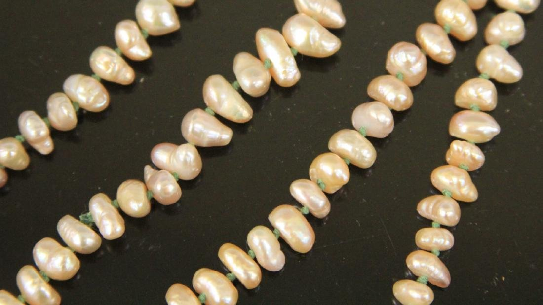 CHINESE CARVED JADE LOCK AND PEARL NECKLACE - 5