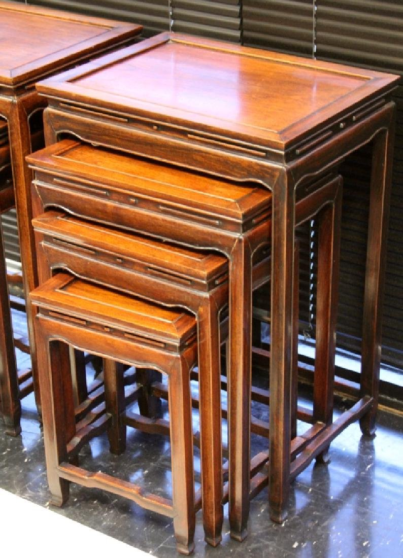 (2) SETS OF (4) VINTAGE CHINESE NESTING TABLES - 2