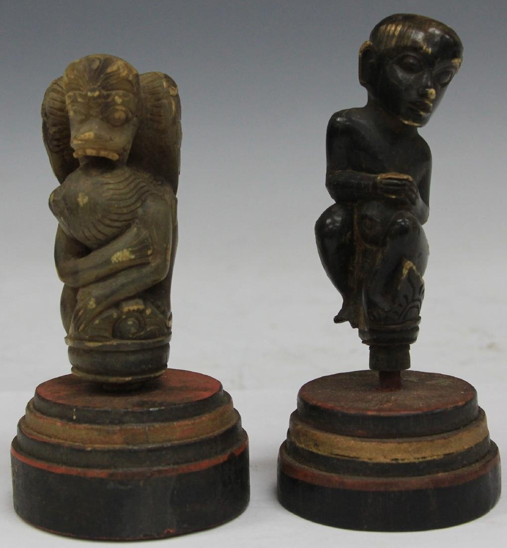 LOT OF (2) INDONESIAN CARVED CANE HANDLES