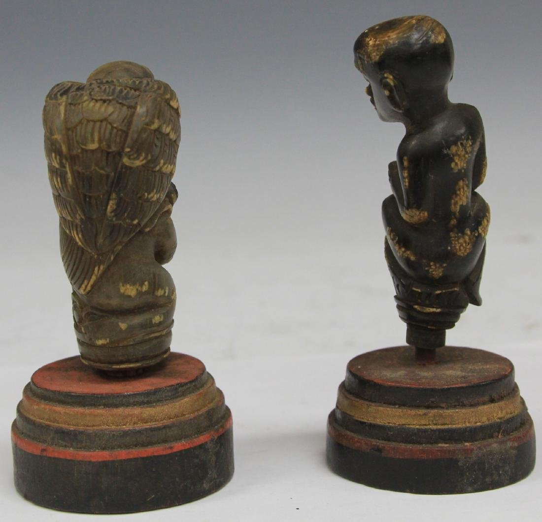 LOT OF (2) INDONESIAN CARVED CANE HANDLES - 3