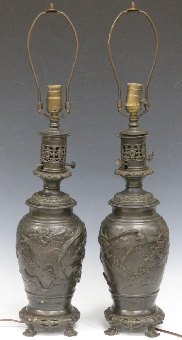 PAIR OF VINTAGE JAPANESE CAST METAL VASES/LAMPS