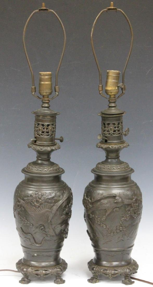 PAIR OF VINTAGE JAPANESE CAST METAL VASES/LAMPS
