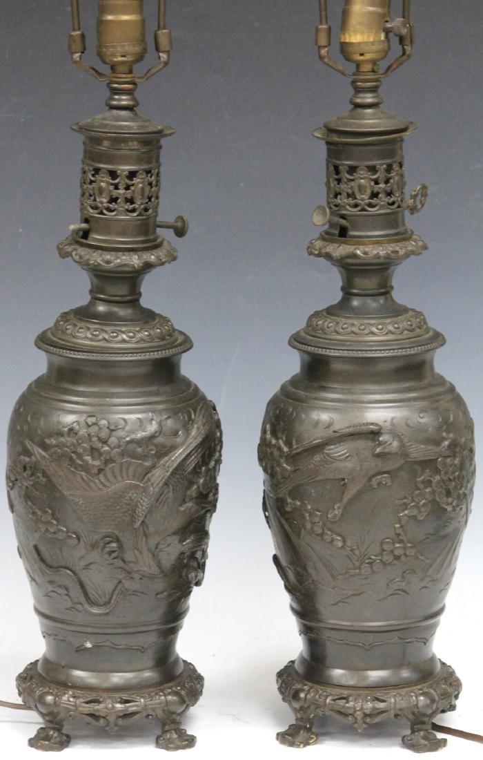 PAIR OF VINTAGE JAPANESE CAST METAL VASES/LAMPS - 2