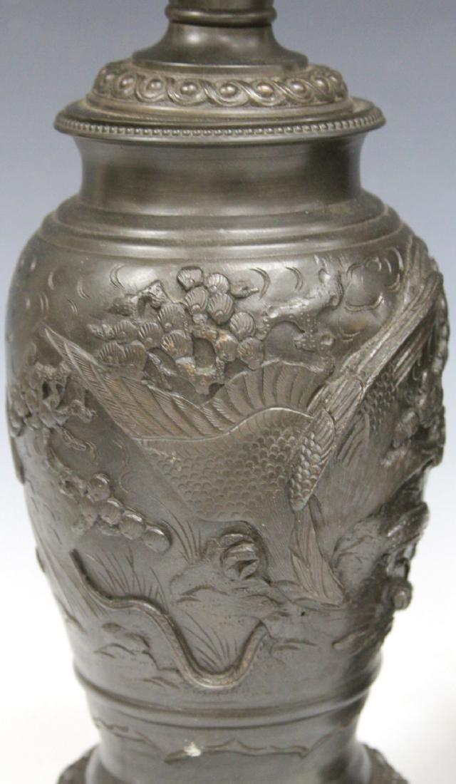 PAIR OF VINTAGE JAPANESE CAST METAL VASES/LAMPS - 3