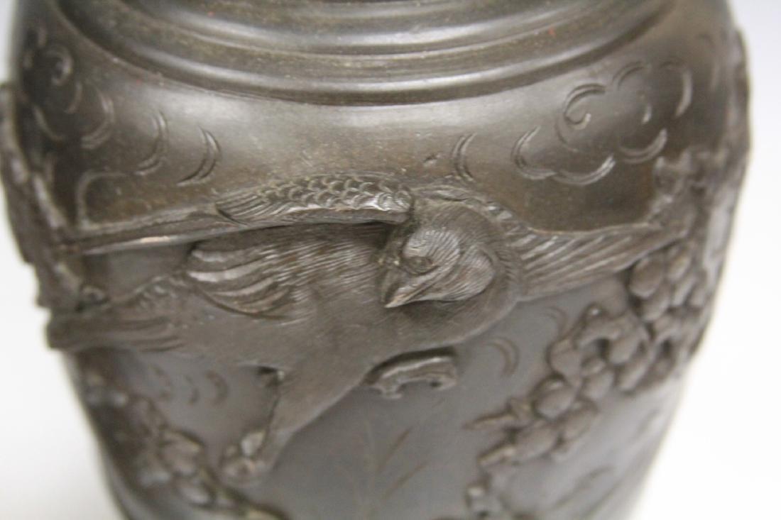 PAIR OF VINTAGE JAPANESE CAST METAL VASES/LAMPS - 4