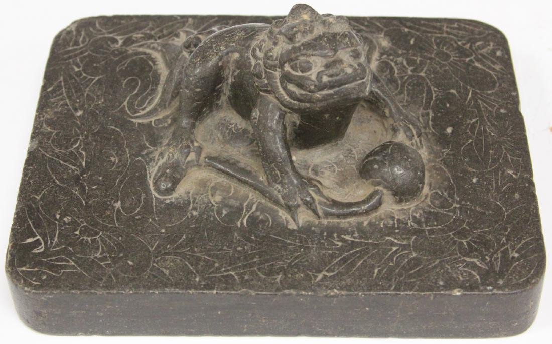 CHINESE MING CARVED SCHOLAR'S STONE BLOCK