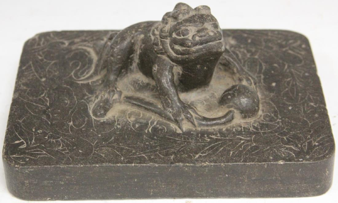 CHINESE MING CARVED SCHOLAR'S STONE BLOCK - 7