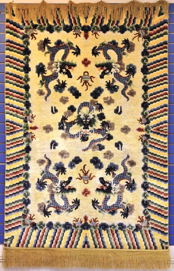 VINTAGE TIBETAN WOVEN CARPET W/ DRAGONS