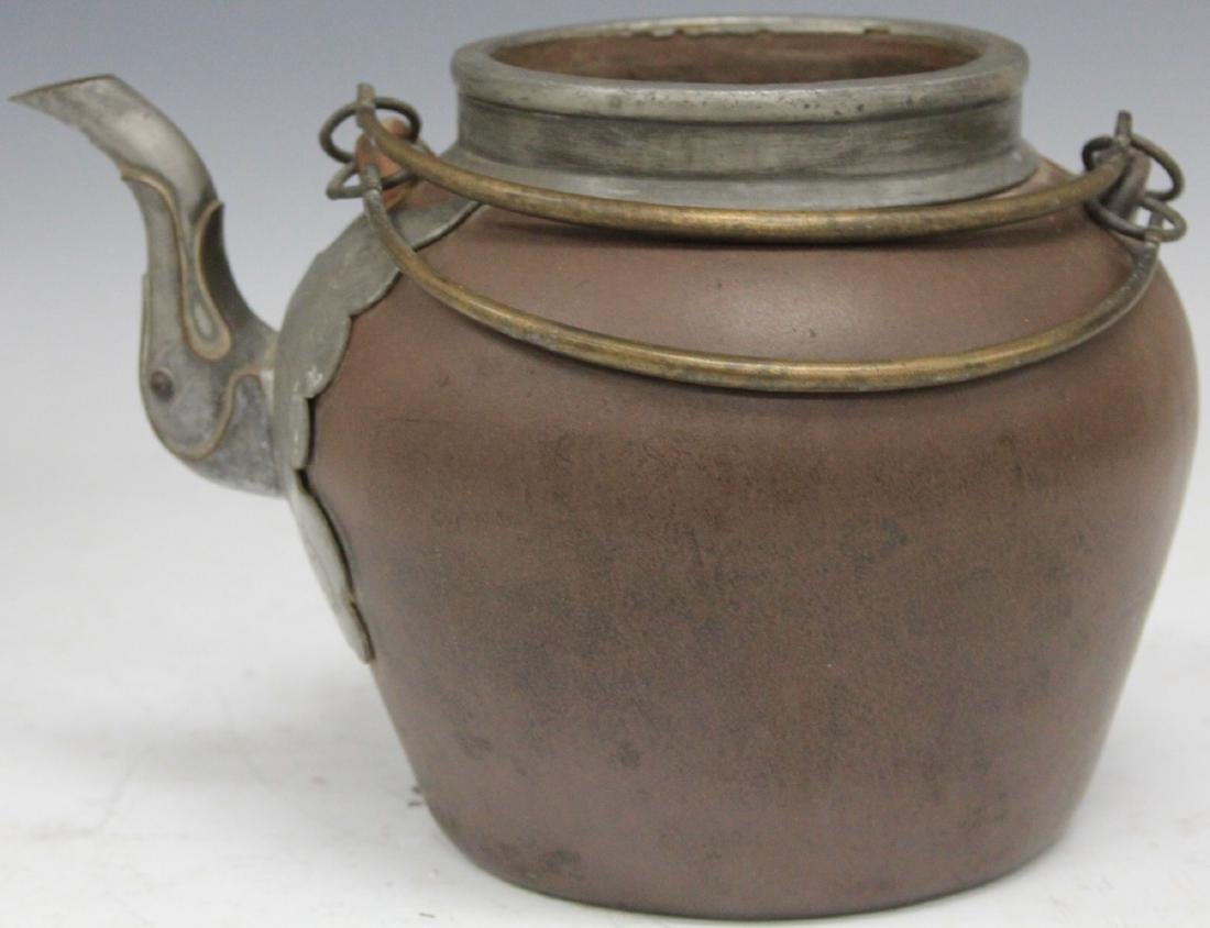 SOUTHEAST ASIAN TEAPOT WITH PEWTER