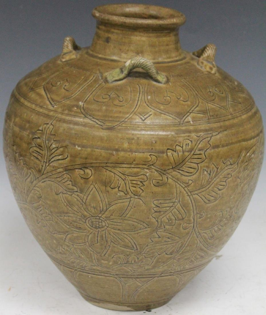 EARLY CHINESE CELADON POTTERY VASE