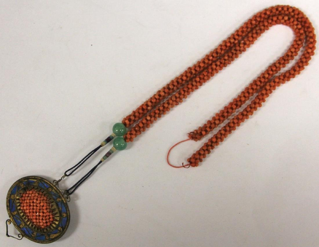 EARLY CHINESE BEADED CORAL NECKLACE