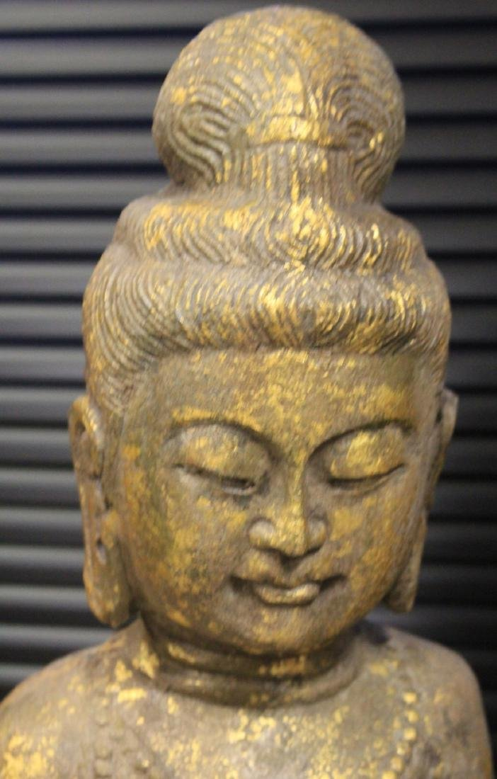 VINTAGE CHINESE CARVED STONE QUAN YIN STATUE - 2