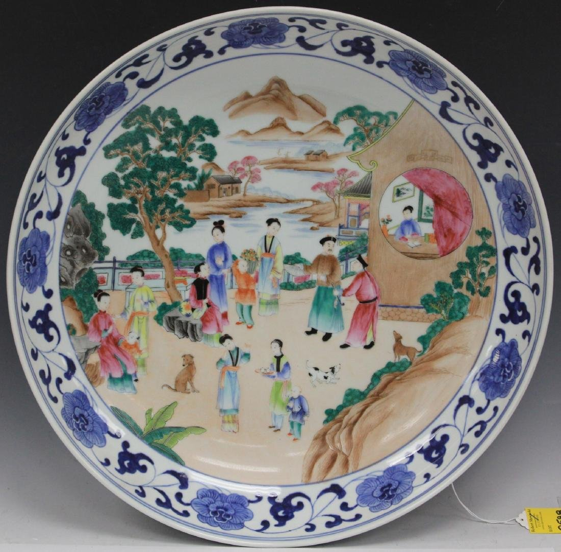 "CHINESE PORCELAIN PAINTED CHARGER, 20"" D"