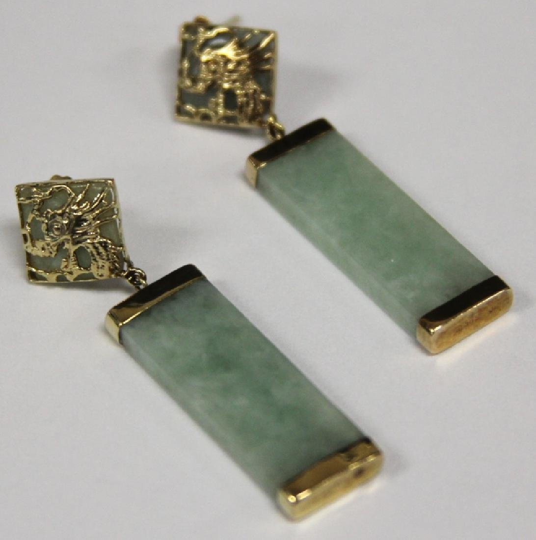 JADE AND 14KT GOLD EARRINGS