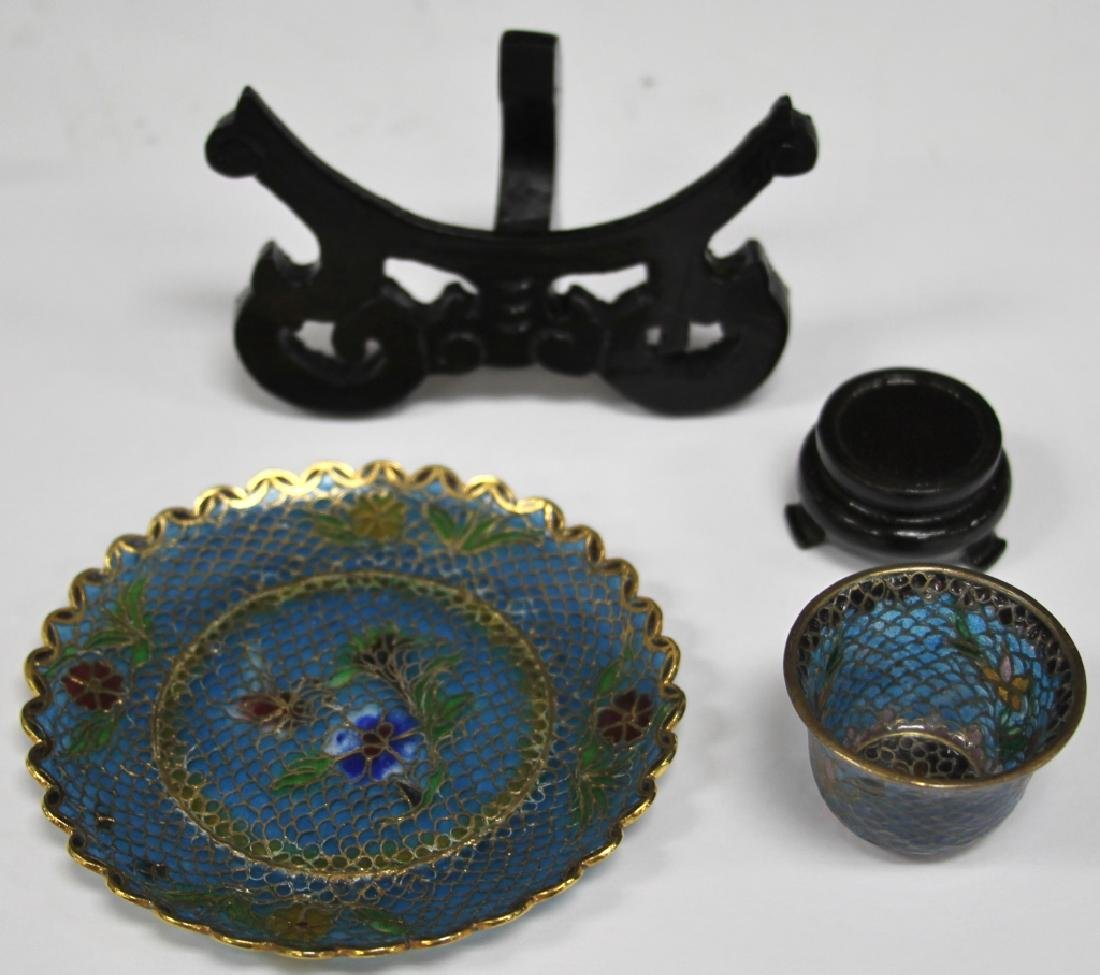 LOT OF (5) CHINESE PLIQUE A JOUR JEWELRY & DECOR - 5