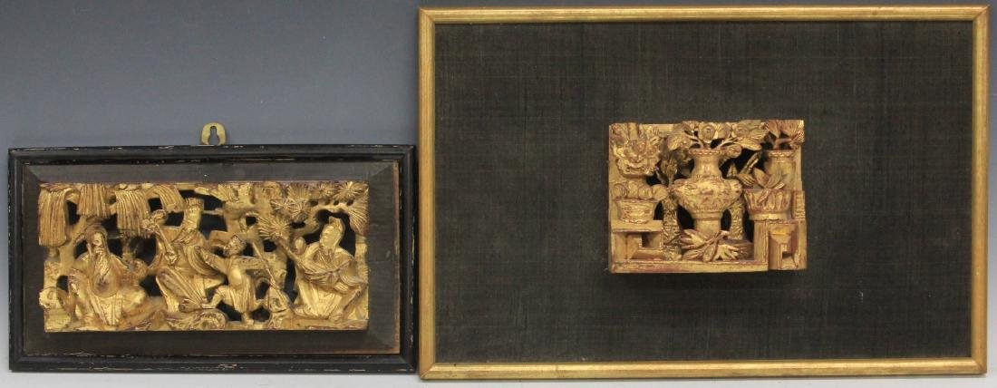 LOT OF (4) CHINESE CARVED WOOD PANELS