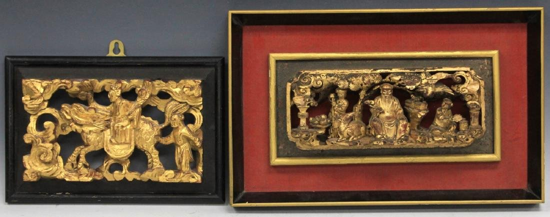 LOT OF (4) CHINESE CARVED WOOD PANELS - 4