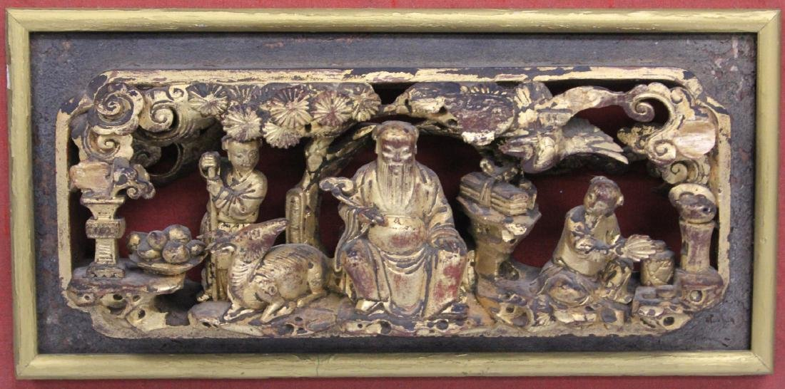 LOT OF (4) CHINESE CARVED WOOD PANELS - 5