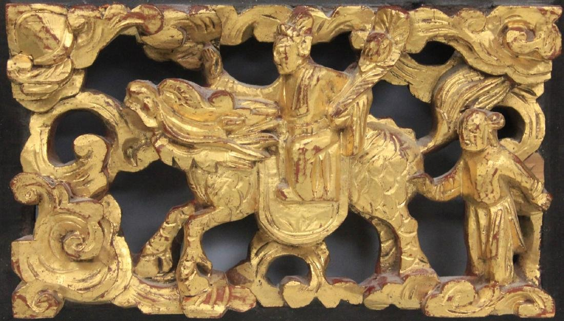 LOT OF (4) CHINESE CARVED WOOD PANELS - 6