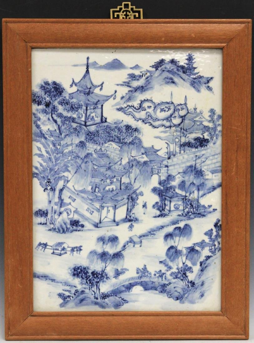 CHINESE BLUE AND WHITE PORCELAIN PLAQUE, FRAMED