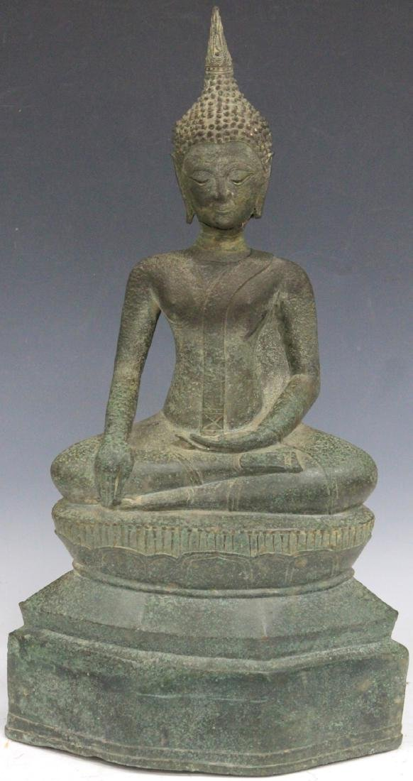 "EARLY THAI BRONZE BUDDHA, 18"" H"