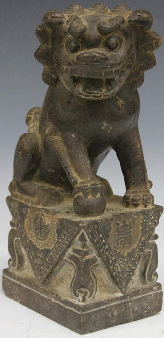 """CHINESE CARVED STONE FOO DOG, 10 1/2"""" H"""
