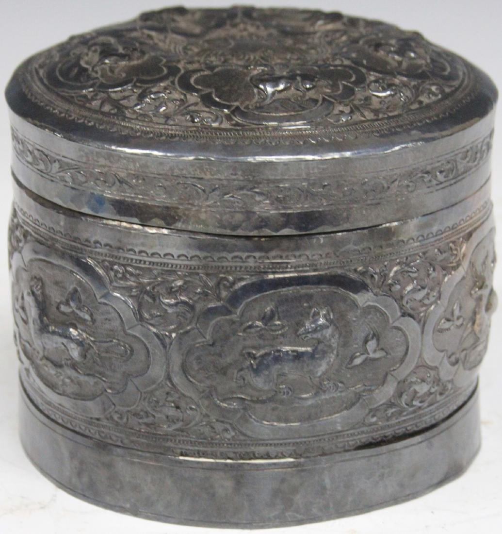 BURMESE ZODIAC SILVER CONTAINER, 18 OZT