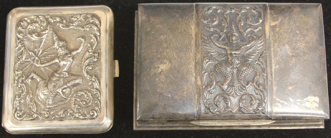 LOT OF (2) THAI SILVER BOXES