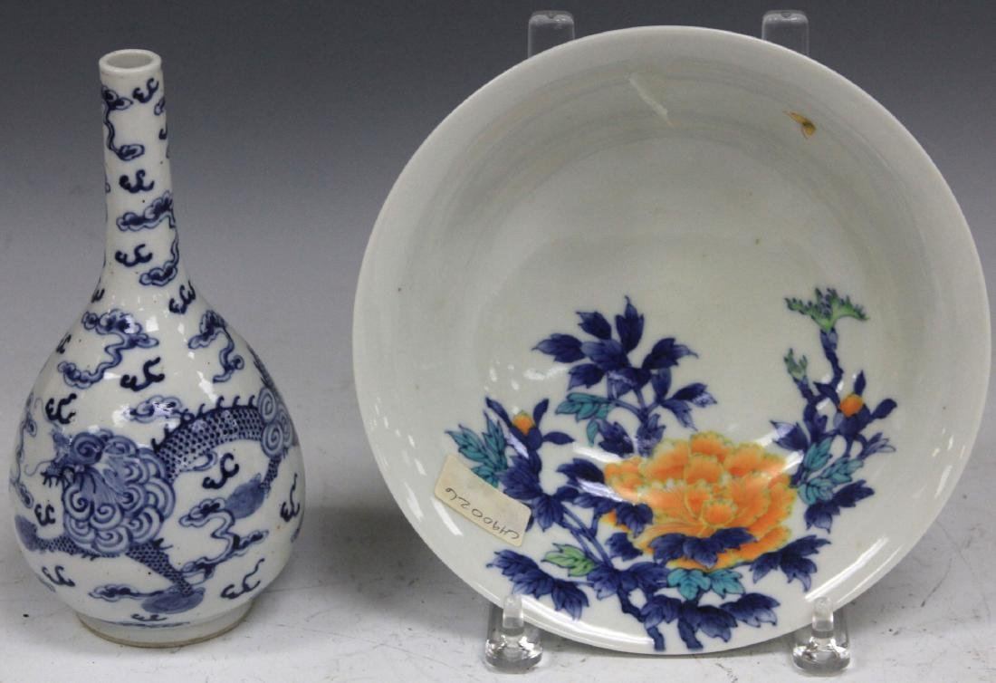 LOT  OF (2) VINTAGE JAPANESE PAINTED PORCELAIN