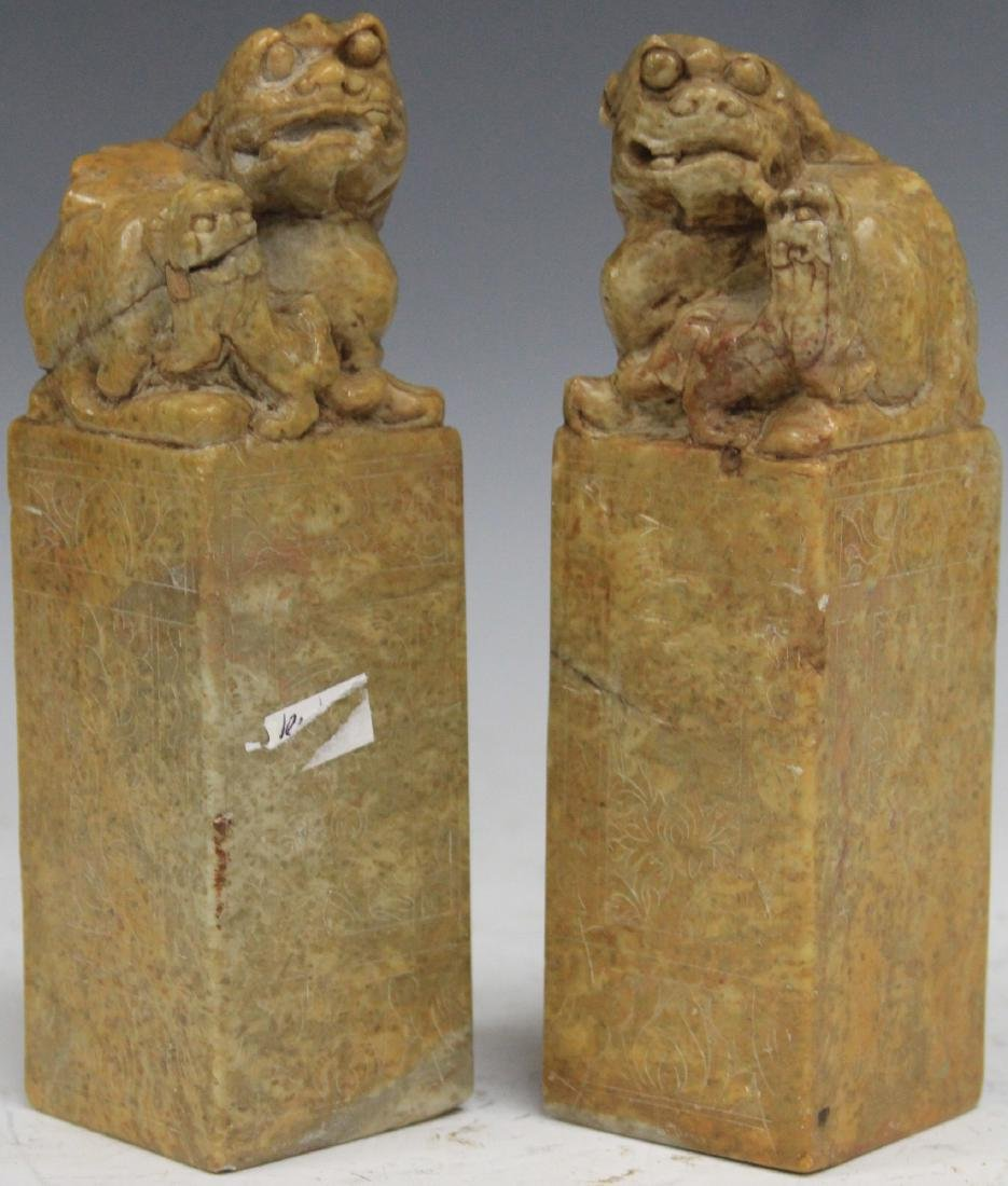 PAIR OF CHINESE CARVED SOAP STONE CHOPS