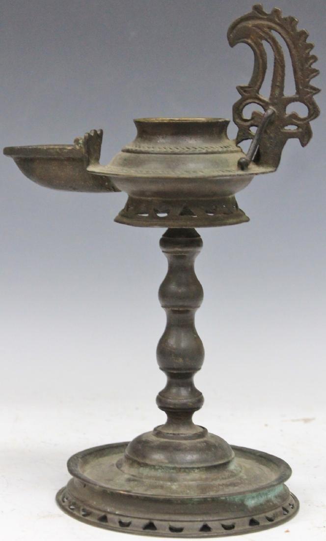 19TH C. INDONESIAN CAST METAL OIL LAMP