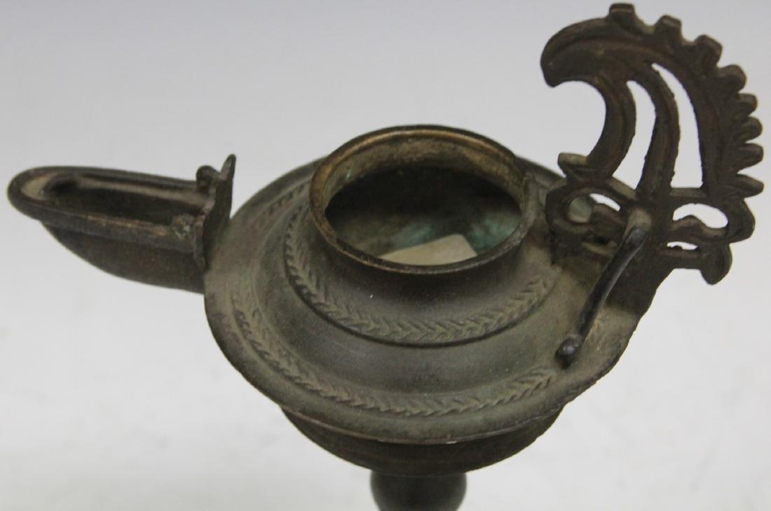 19TH C. INDONESIAN CAST METAL OIL LAMP - 2